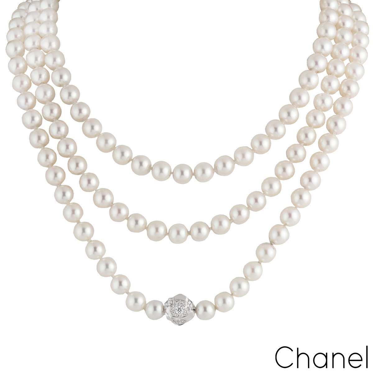 Chanel 18k White Gold Diamond and Pearl Necklace